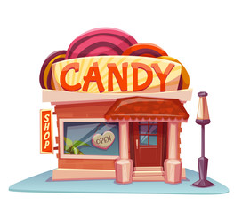 Candy shop building with bright banner. Vector illustration