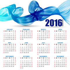 Calendar for 2016 on futuristic wavy background