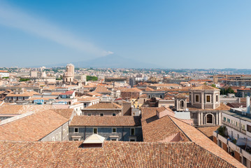 Aerial view of Catania with volcano Etna in background