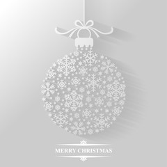 Flat background with Christmas ball