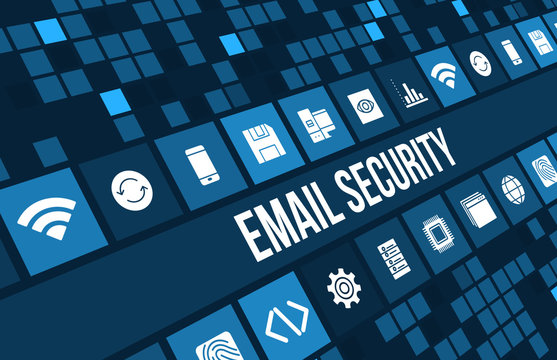 Email security concept image with business icons and