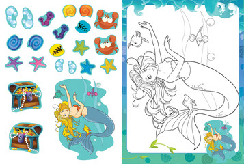 Cartoon scene of mermaid underwater - coloring page with stickers - illustration for children