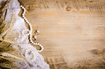 Lace Pearls Bowknot Canvas Sackcloth On Wooden Background