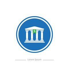 Logo on a blue background bank stylish flat