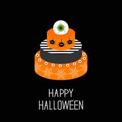 Cake with pumpkin, ghost, spider, web and eyeballs. Happy Halloween. Black background. Flat design