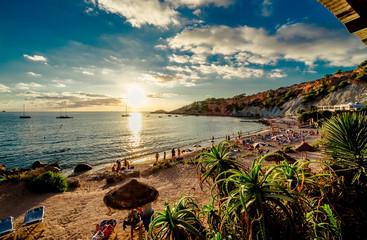 Cala d'Hort Beach at sunset. Balearic Islands. Ibiza