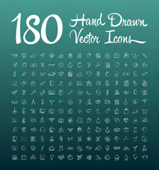 Hand drawn vector icons and a chalkboard background