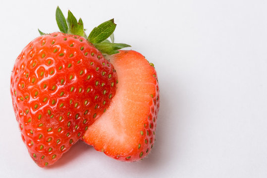 two juicy slices strawberry