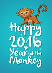 New Year illustration with cartoon monkey-symbol of 2016 year