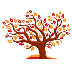 Vector illustration of stylized branchy tree isolated on white b