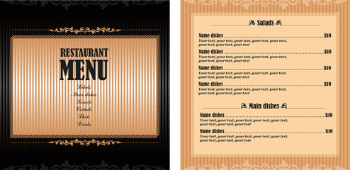 Vector template design restaurant menu