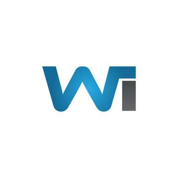 WI company linked letter logo blue