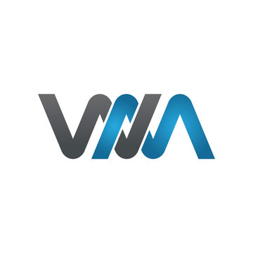 WM company linked letter logo blue
