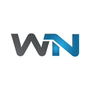 WN company linked letter logo blue