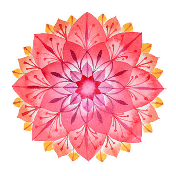 Pink flower hand drawn mandala in watercolors technique