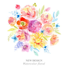 Watercolor card with beautiful flowers