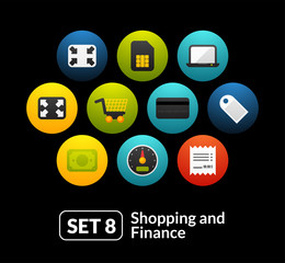 Flat icons set 8 - shopping and finance collection