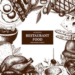 Vector menu template. Vintage food design  with sketched elements. Ink hand drawn food illustration