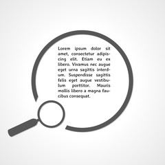magnifying glass symbol and circle