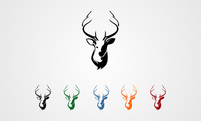 deer silhouette and vector image
