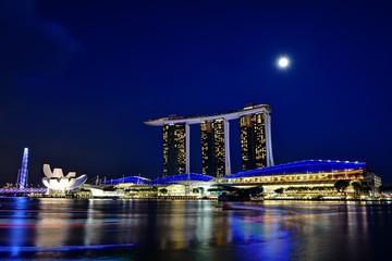 シンガポールのマリーナベイサンズホテル 夜景