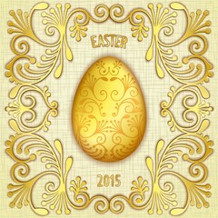 Gold jewelry Easter egg with pattern on gunny textured background