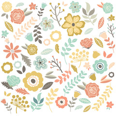 Vintage Hand Drawn Flowers Background