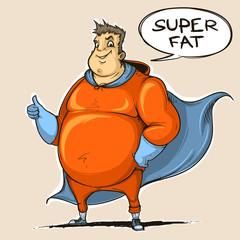 Fat man super hero. Color. Sketch style.