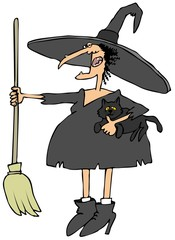 Witch holding a cat and broom