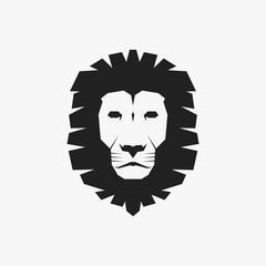Black Lion Head Icon. Vector Illustration