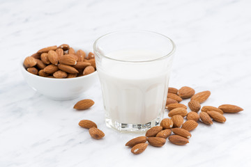 almond milk in a glass on white table