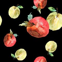 Apples seamless pattern watercolor. Handmade. Autumn.