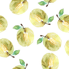 Apples seamless pattern watercolor. Handmade. Autumn.