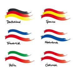 Flaggen von Deutschland, Frankreich, Italien, Spanien, Niederlande, Österreich