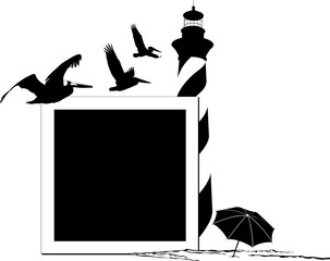 Silhouette of the beach featuring a lighthouse, beach umbrella, pelicans around a picture frame.