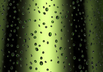 drops on a cold green beer bottle
