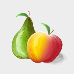 Watercolor pear and Apple