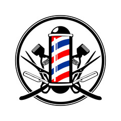 Circular Emblem Barber's Pole with Scissor, Razor & Old Clippers