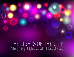 Colorful abstract bokeh background. Blurry unfocused texture with bright lights. Vector illustration.