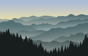 The morning at foggy mountains. Vector illustration.