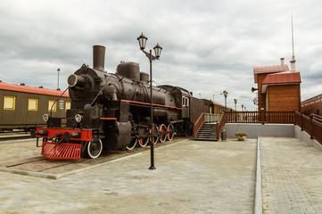 Старый советский паровоз экспонат исторического музея, Екатеринбург, Россия