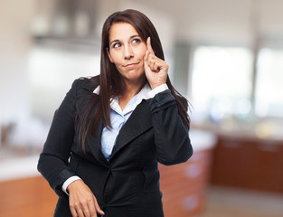 cool business woman pointing front