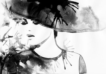Beautiful face. woman portrait with hat. abstract watercolor .fashion background Wall mural