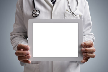 Doctor showing blank digital tablet screen