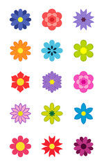 Kids stickers flowers. Vector illustration