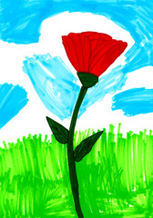Beautiful colorful picture with red flower and green grass and clouds. Modern minimalistic design. Vector illustration.