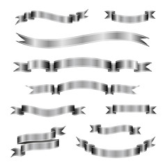 Set of silver ribbon banners. Vector illustration.