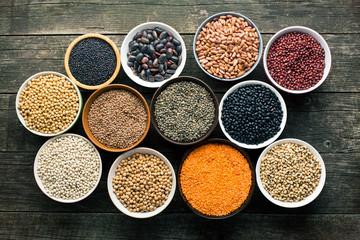 various legumes in bowls