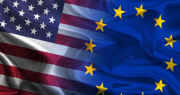USA - EU Flags waving together