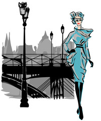 Fotomurales - Fashion models in sketch style fall winter with Paris city background